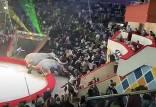 مبارزه نابهنگام فیل ها وسط نمایش سیرک,فیل در سیرک