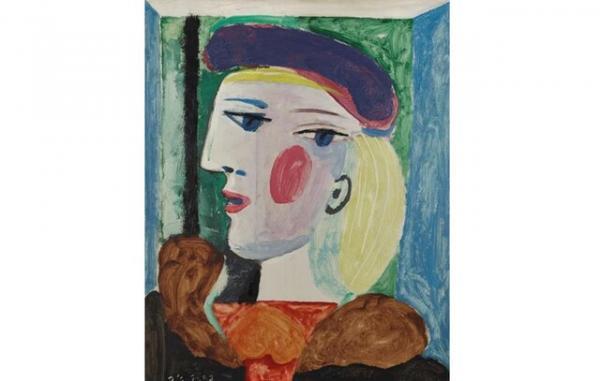 تابلو نقاشی «زنی با کلاه بِرِه بنفش,پابلو پیکاسو
