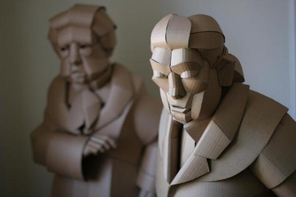 استفاده از کارتن برای خلق مجسمهها,مجسمه های زیبا