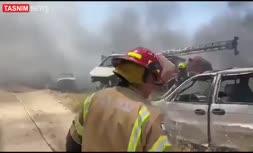 فیلم | آتشسوزی گسترده در نزدیکی فرودگاه بنگوریون