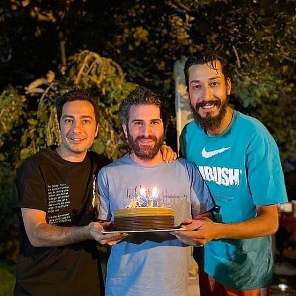 نوید محمدزاده و بهرام افشاری در تولد هوتن شکیبا,جشن تولد