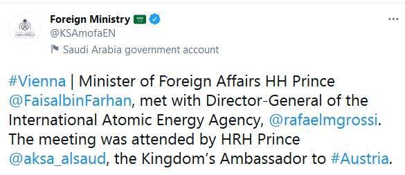 «فیصل بن فرحان آل سعود» وزیر خارجه عربستان,«رافائل گروسی» مدیرکل آژانس بینالمللی انرژی اتمی