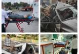 تصادف زنجیره ای در جاده قم,تصاویر تصادف زنجیره ای در جاده قم