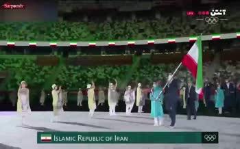 فیلم/ رژه کاروان ورزشی ایران در افتتاحیه المپیک 2020 با لباسهای جنجالی!