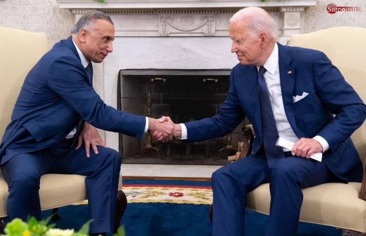 تصاویر دیدار مصطفی الکاظمی و جو بایدن در کاخ سفید,عکس های دیدار بایدن و مصطفی الکاظمی,تصاویر دیدار نخست وزیر عراق و رئیس جمهور آمریکا