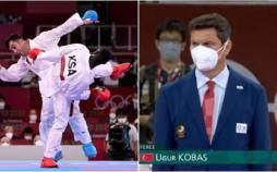 داور فینال کاراته بین گنج زاده و حریف عربستانی,فینال کاراته المپیک 2020