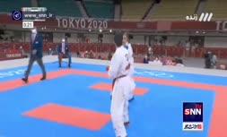 فیلم   اولین پیروزی حمیده عباسعلی در مسابقات کاراته المپیک 2020