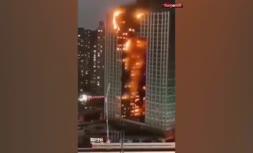 فیلم/ آتشسوزی برج مسکونی در دالیان چین