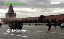 فیلم   لحظه فرو ریختن بخشی از دیوار کاخ کرملین