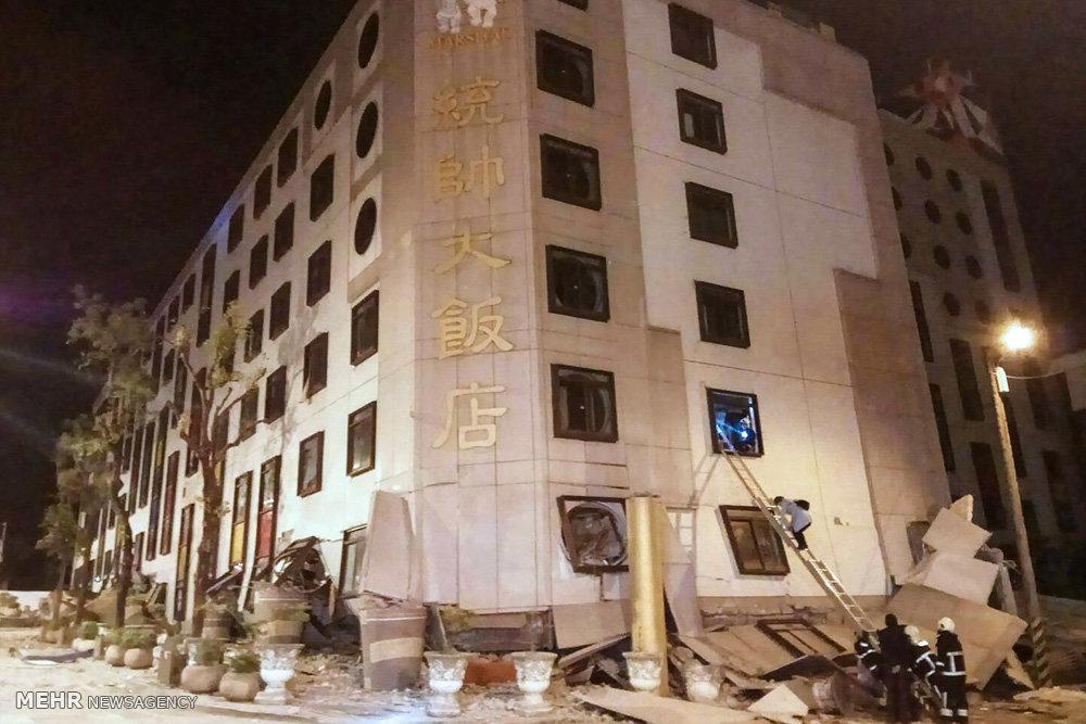 تصاویر زلزله در تایوان,عکس های تخریب ساختمان های تایوان,تصاویرخسارت زمین لرزه در تایوان
