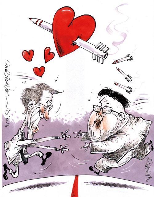کاریکاتور دیدار رهبران دو کره