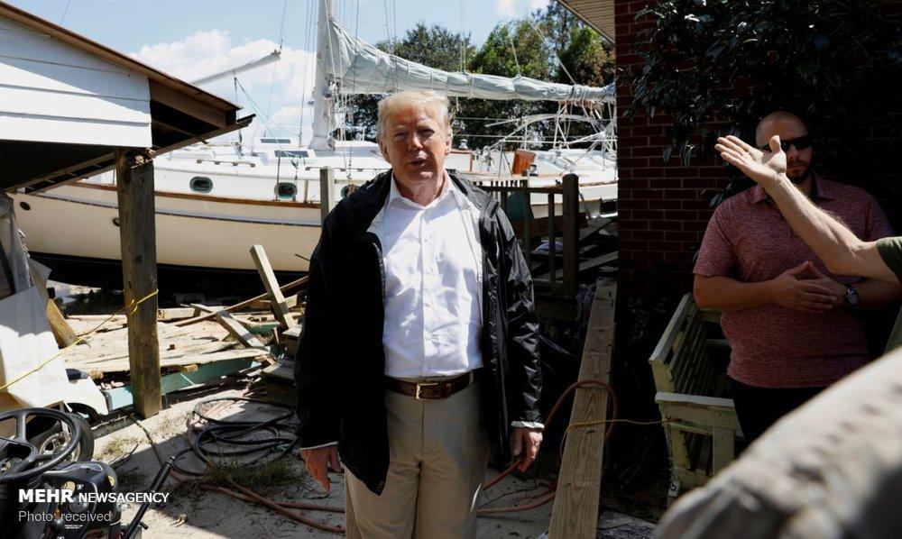 عکس سفر ترامپ به مناطق طوفان زده,تصاویرسفر ترامپ به مناطق طوفان زده,عکس ترامپ درکارولینای شمالی