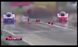 فیلم/ نجات معجزه آسای راننده در مسابقه اتومبیل رانی