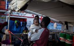 تصاویر مهاجران نجات یافته آفریقایی,عکس های مهاجران آفریقایی,تصاویر مهاجران آفریقایی در مدیترانه