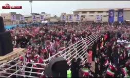 ویدئو/ مراسم استقبال از رییس جمهور در بندر لنگه با موسیقی بندری