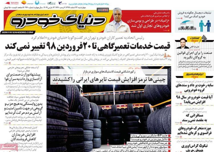 عناوین روزنامه های اقتصادی چهارشنبه بیست و دوم اسفند ۱۳۹۷,روزنامه,روزنامه های امروز,روزنامه های اقتصادی