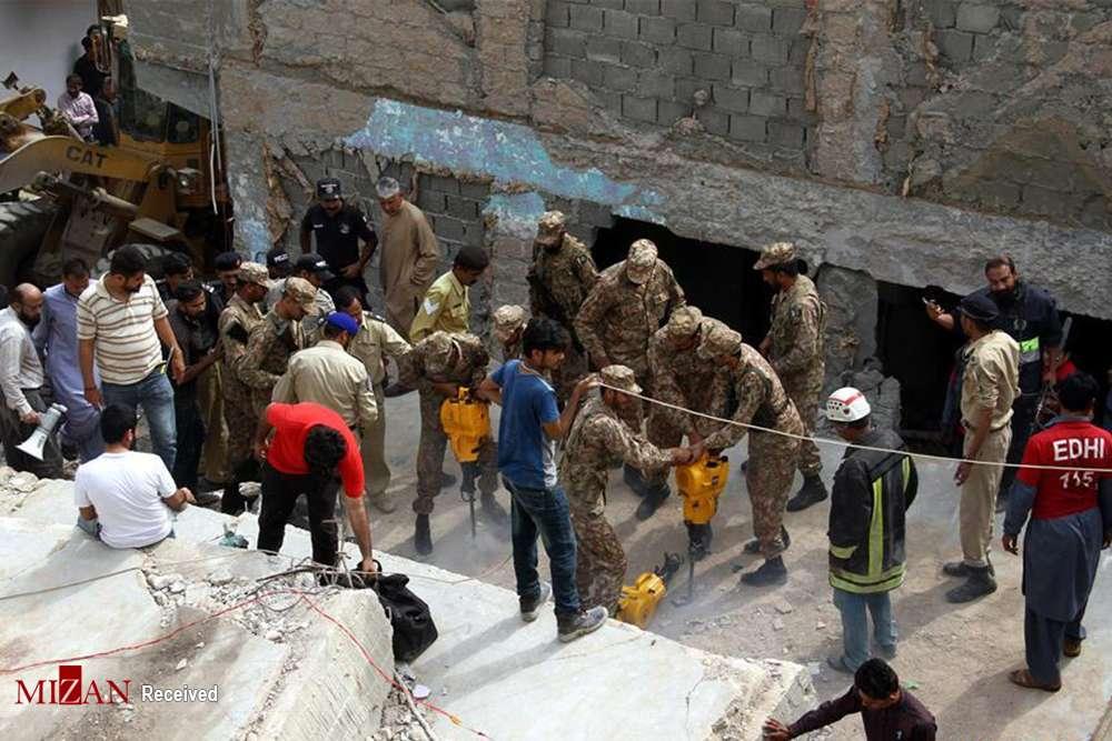تصاویر ریزش ساختمان در پاکستان,عکس های حادثه در پاکستان,تصاویر ریزش ساختمان در کراچی