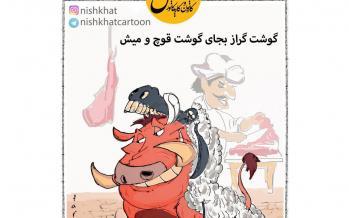 کاریکاتور گوشت گراز بجای گوشت قوچ و میش,کاریکاتور,عکس کاریکاتور,کاریکاتور اجتماعی