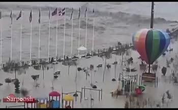 ویدئو/ طغیان کمسابقه رودخانه تجن در ساری/ پارک ملل زیر آب رفت