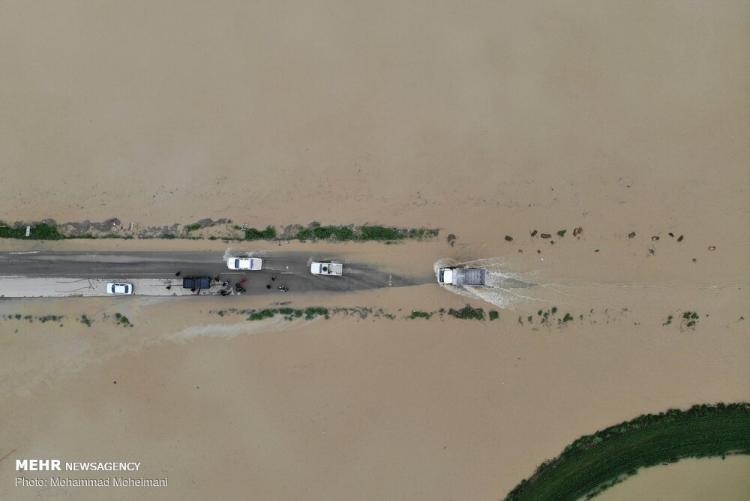 تصاویر هوایی از مناطق سیل زده استان گلستان,عکس هوایی از مناطق سیل زده در گلستان,عکس های مناسق سیل زده در منطقه آق قلا استان گلستان