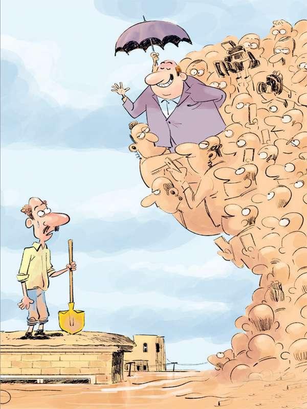 کاریکاتور بازدید مسئولان ازسیل