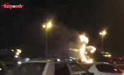 فیلم/ آتش گرفتن نماد طاووس دروازه قرآن شیراز