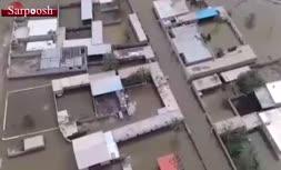 فیلم/ غرق شدن روستای «سید سلمان» در سیلاب خوزستان