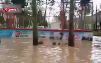 ویدئو/ پارک شهر خرم آباد زیر آب رفت