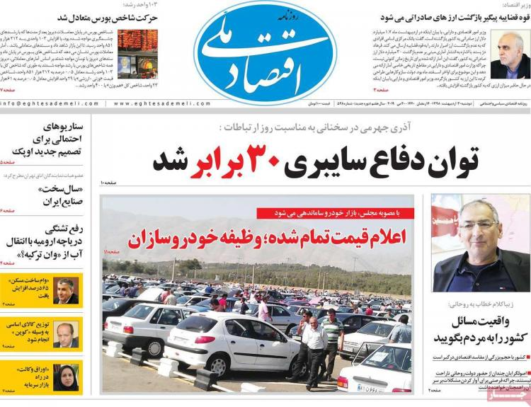 عناوین روزنامه های اقتصادیدوشنبه سی ام اردیبهشت ۱۳۹۸,روزنامه,روزنامه های امروز,روزنامه های اقتصادی