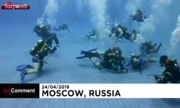 فیلم/ مسابقات هاکی زیر آب در روسیه