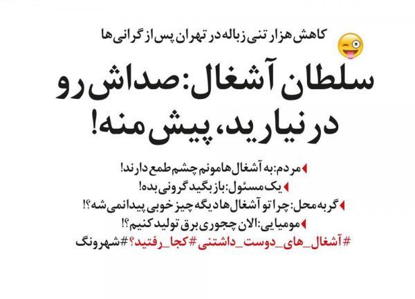 کاهش هزار تنی زباله تهران,طنز,مطالب طنز,طنز جدید