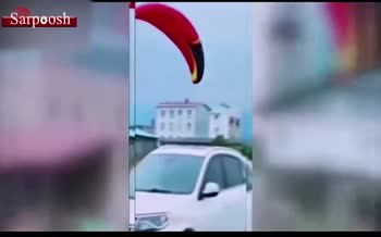 فیلم/ سقوط وحشتناک پاراموتور در متلقو