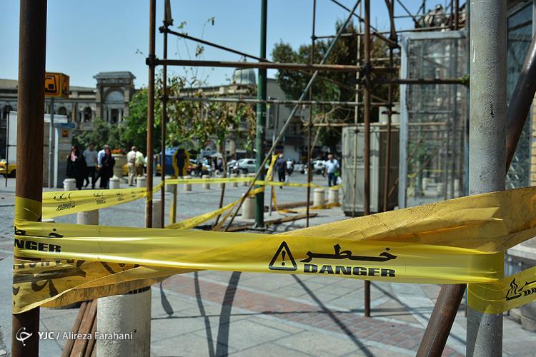 تصاویر آتشسوزی در میدان حسنآباد,عکس های آتشسوزی در میدان حسنآباد,تصاویر میدان تاریخی حسنآباد