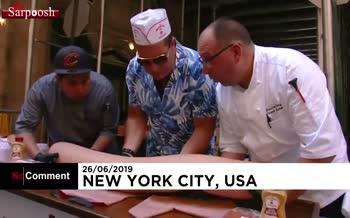 فیلم/ ساندویچ هاتداگ ۳۰ کیلویی در نیویورک!