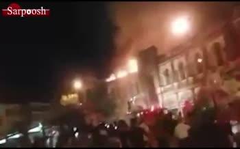 فیلم/ آتشسوزی در میدان حسنآباد تهران
