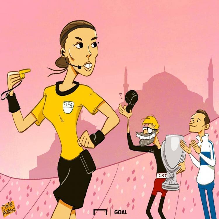 کارتون داور زن دیدار سوپر جام اروپا,کاریکاتور,عکس کاریکاتور,کاریکاتور ورزشی