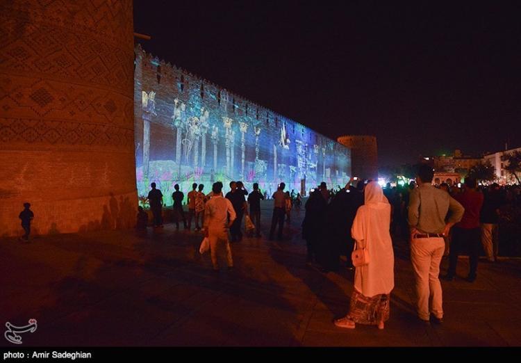 تصاویر اجرای نورپردازی سه بعدی در شیراز,عکس های اجرای نورپردازی سه بعدی در شیراز,تصاویر دیواره ارگ کریم خانی