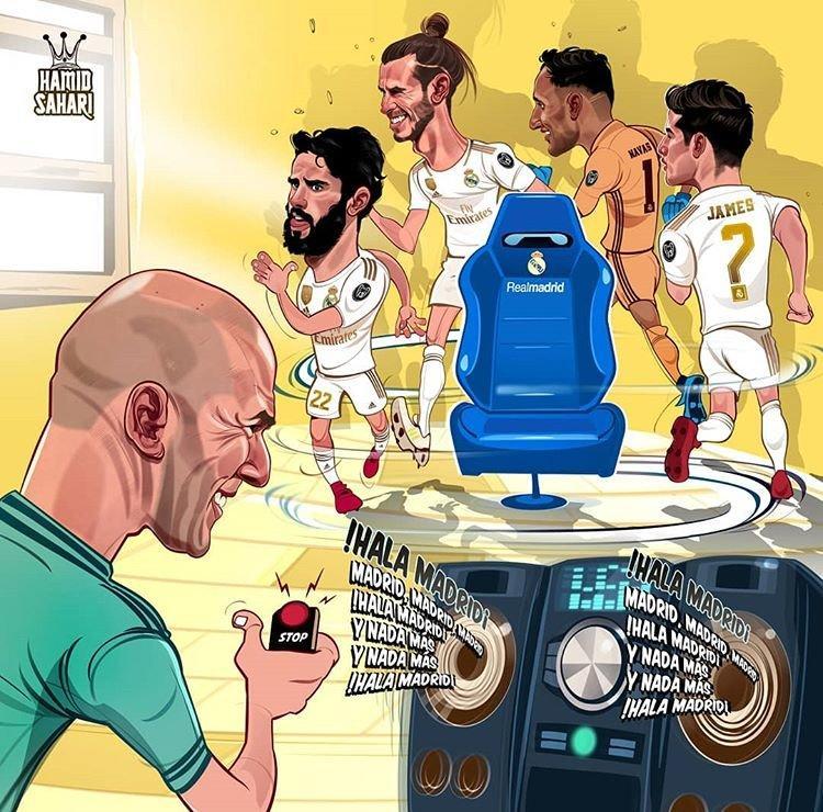 کاریکاتور زین الدین زیدان و بازیکنان,کاریکاتور,عکس کاریکاتور,کاریکاتور ورزشی