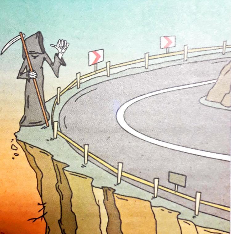 کارتون آمار مرگ در جاده های کشور,کاریکاتور,عکس کاریکاتور,کاریکاتور اجتماعی