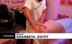 فیلم/ روش عجیب ماساژور مصری با استفاده از آتش!