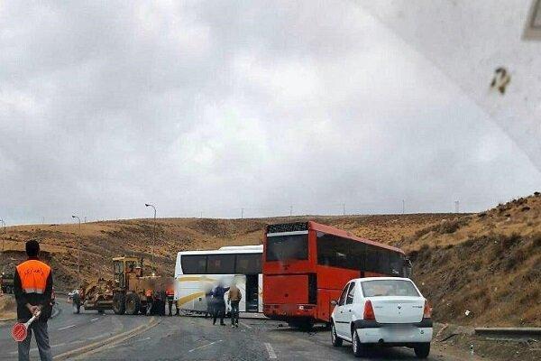 برخورد چند اتوبوس در گردنه اسدآباد,اخبار حوادث,خبرهای حوادث,حوادث