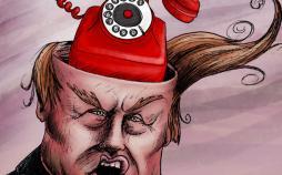 کارتون ترامپ در انتظار تماس روحانی