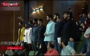 فیلم/ اعتراض دانشجویان به روحانی و ترک جلسه