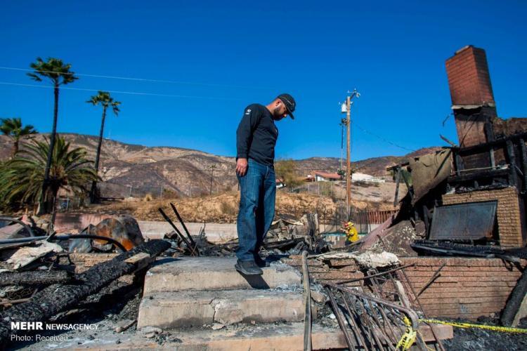 تصاویر آتش سوزی در آمریکا,عکس وضعیت خانه ها در آتش سوزی در آمریکا,تصاویر حادثه در آمریکا