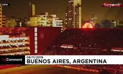 فیلم/ نمایش شیر شعلهور هولوگرامی در مراسم افتتاح ورزشگاهی در بوئنوسآیرس