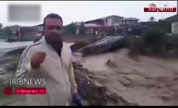 فیلم/ تخریب پل نوکنده به اثر سیل