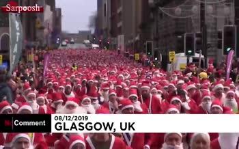 فیلم/ مسابقه دو با لباس بابانوئل در شهر گلاسکو