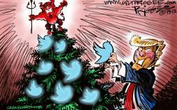 کارتون درخت کریسمس دونالد ترامپ