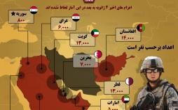 اینفوگرافیک تعداد سربازان آمریکا در خاورمیانه