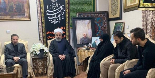 حسن روحانی در منزل شهید حاج قاسم سلیمانی حضور یافت